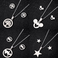 Animal Mouse Cartoon Mickey Necklaces Earrings for Women Kids Gold Necklace & Pendant Jewelry Set Girls Christmas Gifts Bijoux(China)