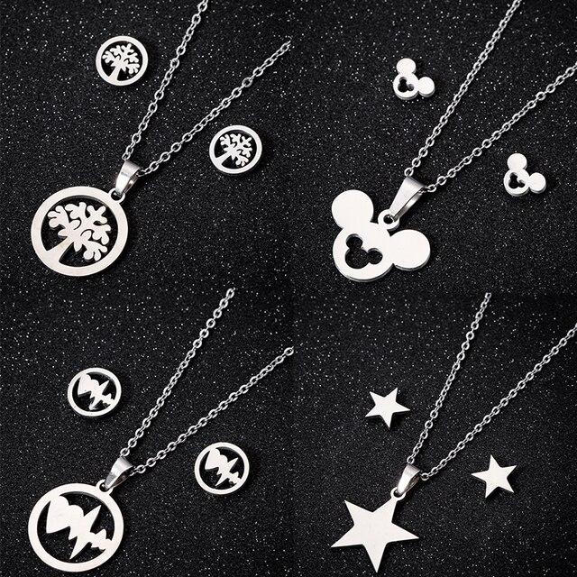 בעלי החיים עכבר Cartoon מיקי שרשראות עגילים לנשים ילדים זהב שרשרת & תליון תכשיטי סט בנות חג המולד מתנות Bijoux