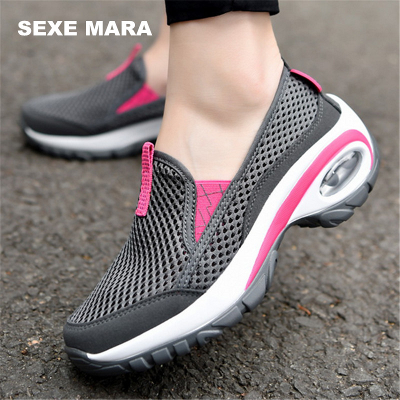 NEW 2017 Women Outdoor Sports Shoes air cushion Running shoes for women Breathable mesh Sneakers non-slip Jogging Walking wedge