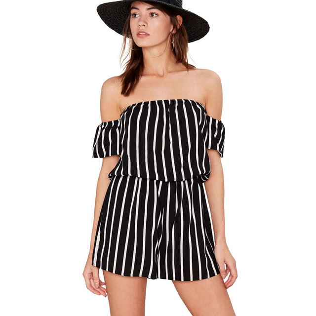 38e2a04f69e 2016 Slash Neck Sexy Black Striped Women Short Jumpsuit Romper Summer Beach Off  Shoulder Playsuit Casual Macacao Girls Overalls