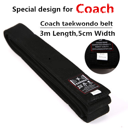 Высокое качество 3 м черный тхэквондо WTF тренер хлопок пояса карате взрослых детей пояс тхэквондо пояс вышивка на заказ 3 м