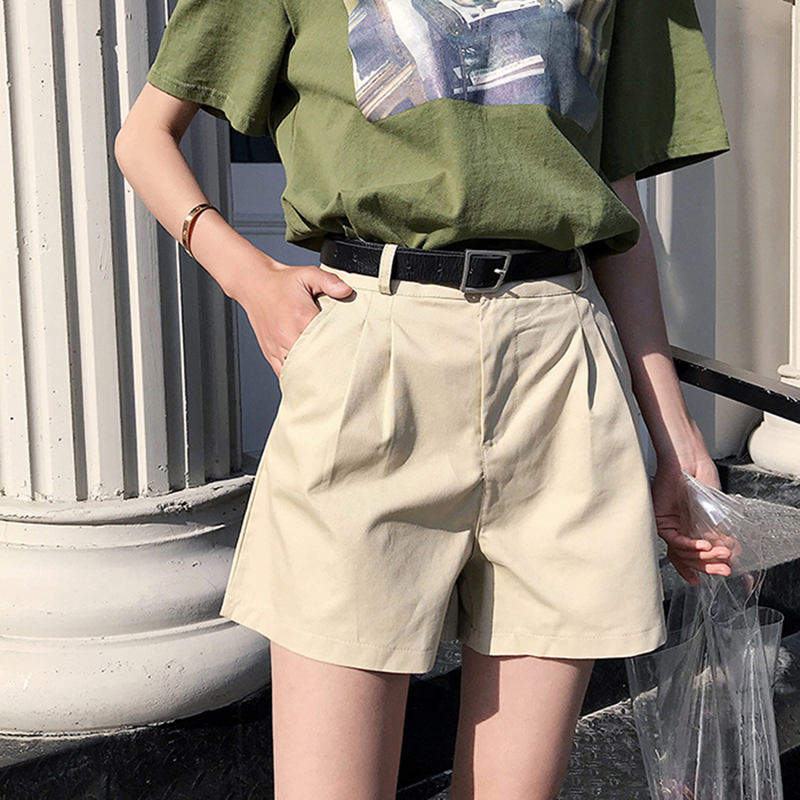 New 2019 Summer Casual Sashes Cotton Shorts Women High Waist Loose Wide Leg Shorts Plus Size Sporting Cargo Shorts Female
