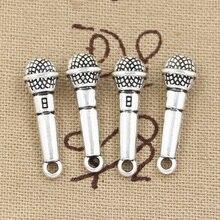 6 uds encantos micrófono 25x7mm antiguo hacer colgantes fit,Vintage bronce tibetano color plata, DIY joyería hecha a mano
