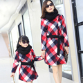 Family matching clothes fall and winter clothing 2016 new mother and daughter clothes women's plaid woolen jacket girl long coat