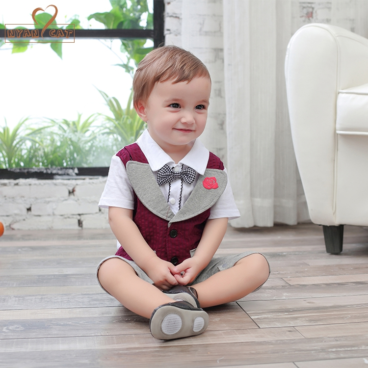 NYAN CAT Baby boy short sleeve baby toddler boy gentleman bow tie romper jumpsuits cotton vest flower rose infant wedding suit