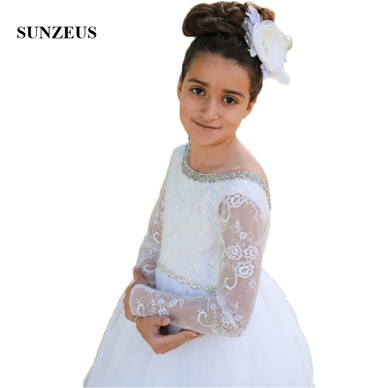 Backless A-Line   Flower     Girls     Dresses   Stunning Beaded Lace Long Sleeve Birthday Party   Dresses   for   Girls   vestido daminha SF43