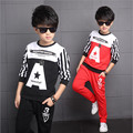 2016 Brand Boy Print Letter Striped Long Sleeve Top+Pants Suit Boy O-Neck School Sport Fashion Clothing Set Kid Clothes