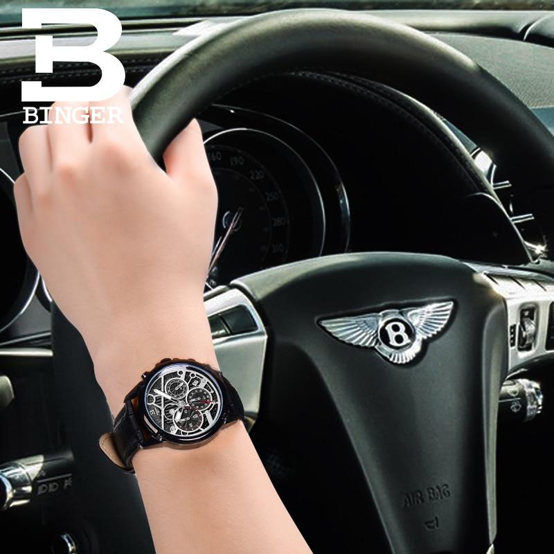 Suisse montre pour hommes de luxe marque horloge BINGER Quartz hommes montres en cuir véritable chronographe Diver glowwatch B 6008 6-in Montres à quartz from Montres    3