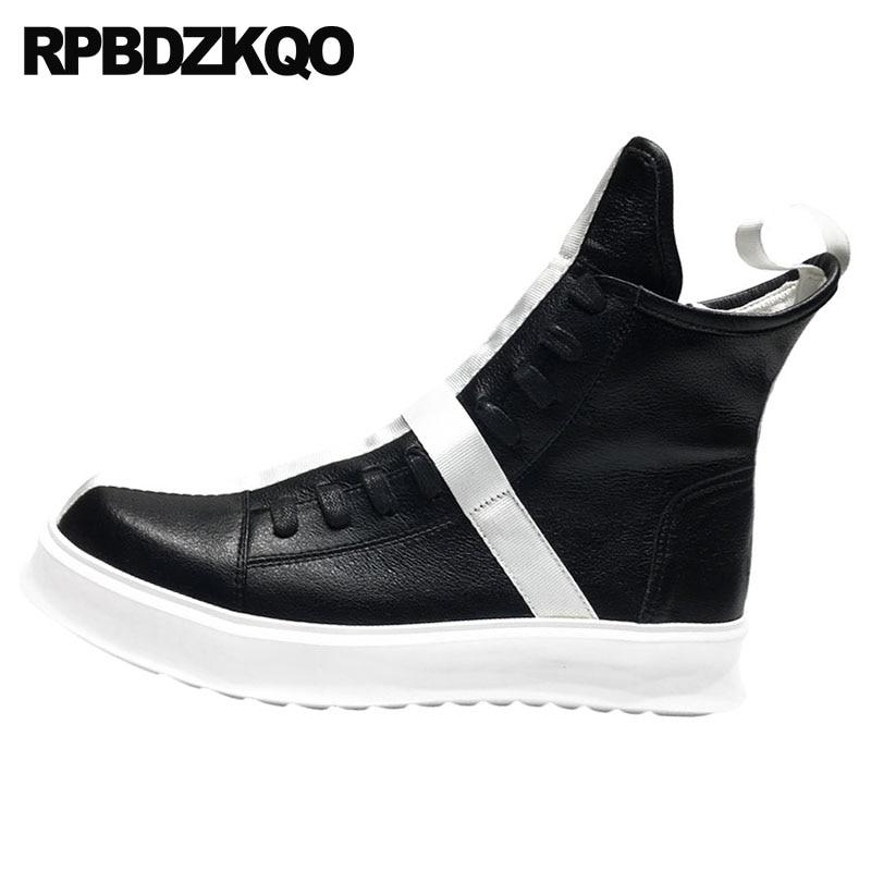 De Deporte Grano Blanco Negro Para Lujo Gruesa Alta Botas Cuero Auténtico Y Entrenamiento Auténticas Con Zapatos Completo Cremallera Plataforma Suela fn5Haw1