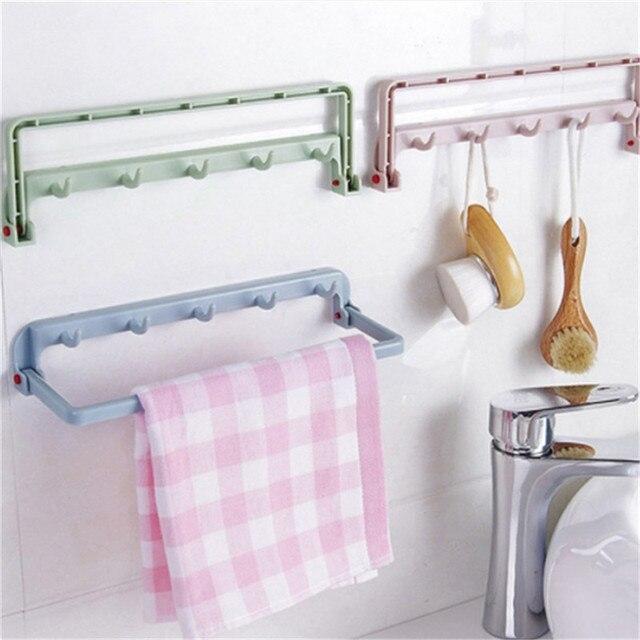 Folding Sundries Organizer Plastic Rack Shelf With Hook Cupboard