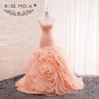 Stunning Strapless Blush Peach Trumpet Wedding Dress 3D Swirled Organza Skirt Pleated Corset Mermaid Bridal Dress