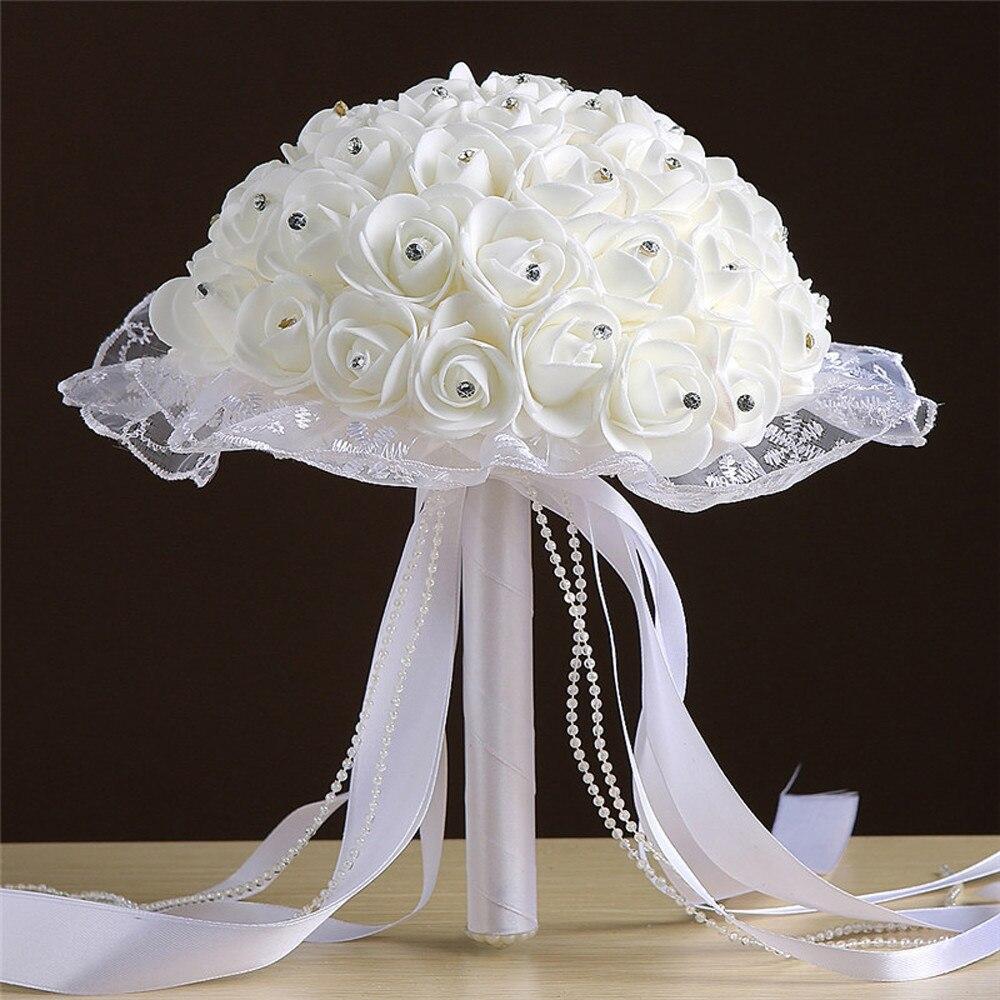 Wedding Bouquet Crystal Lace Roses Bridesmaid Bridal Artificial Silk Flowers Bridal bouquet Ribbon Fake Wedding bouquet L4