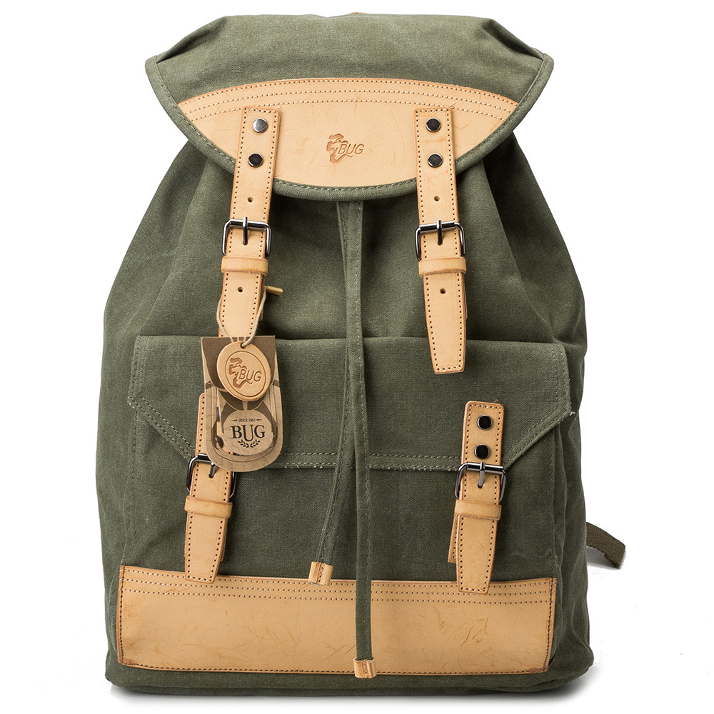 купить 2018 Men's Vintage Canvas Backpack School Male Drawstring Leather Buckle Rucksack Travel Shoulder Bag Tourist Bags недорого
