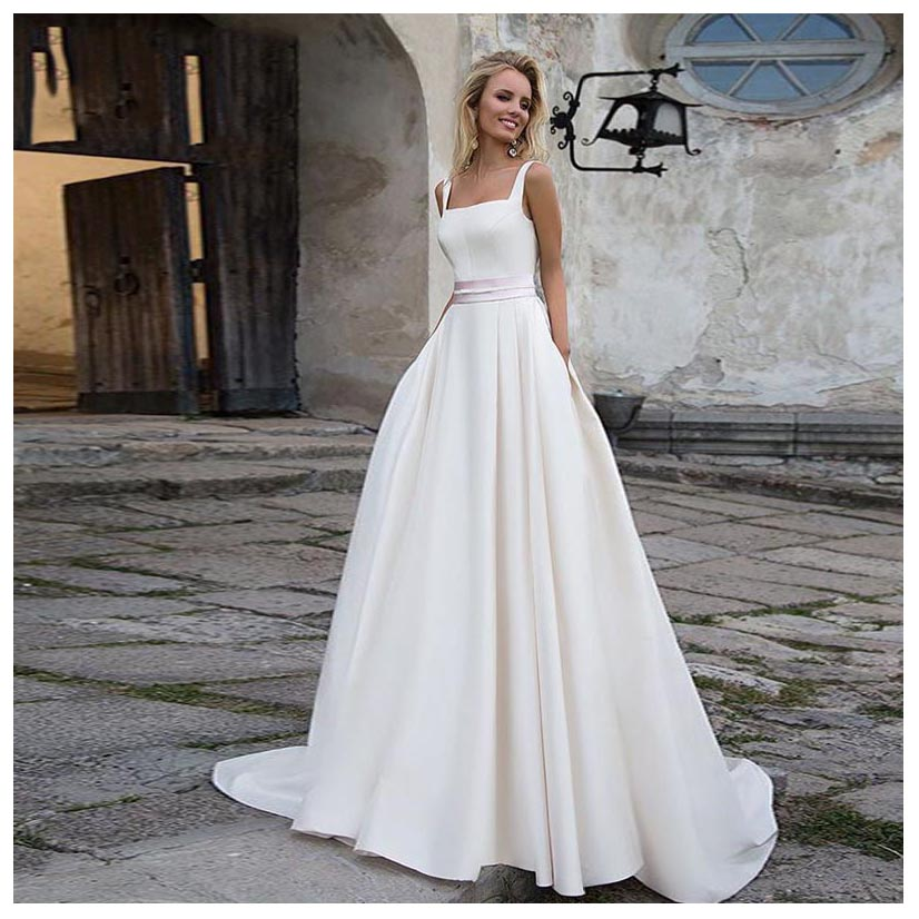 New Arrival Lorie Wedding Dresses 2019 With Pocket Vestido De Novia Satin Elegant Bridal Gowns Floor Length Wedding Gown