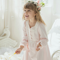 New High Quality Autumn Children Pure Contton Royal Gowns Baby Girl Nightgown Lovely Princess Sweet Homewear