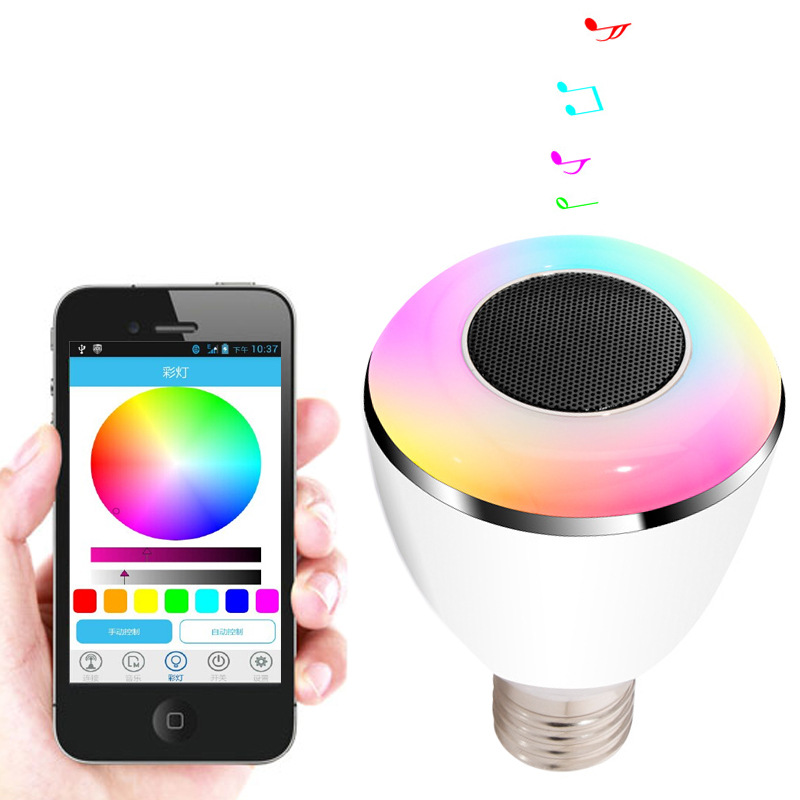 US $36 4 |E27 6W APP Wireless Bluetooth 4 0 Smart LED Light Bulb Music  Speaker Lamp Audio Speaker For iPhone/iPad IOS Android Devices-in Novelty