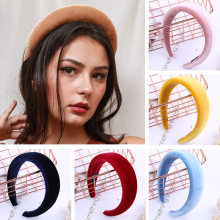 Xugar Hair Accessories Velvet Headband for Women Solid Color Plastic Hair Hoop Girls Sponge Hairbands Hair Band(China)