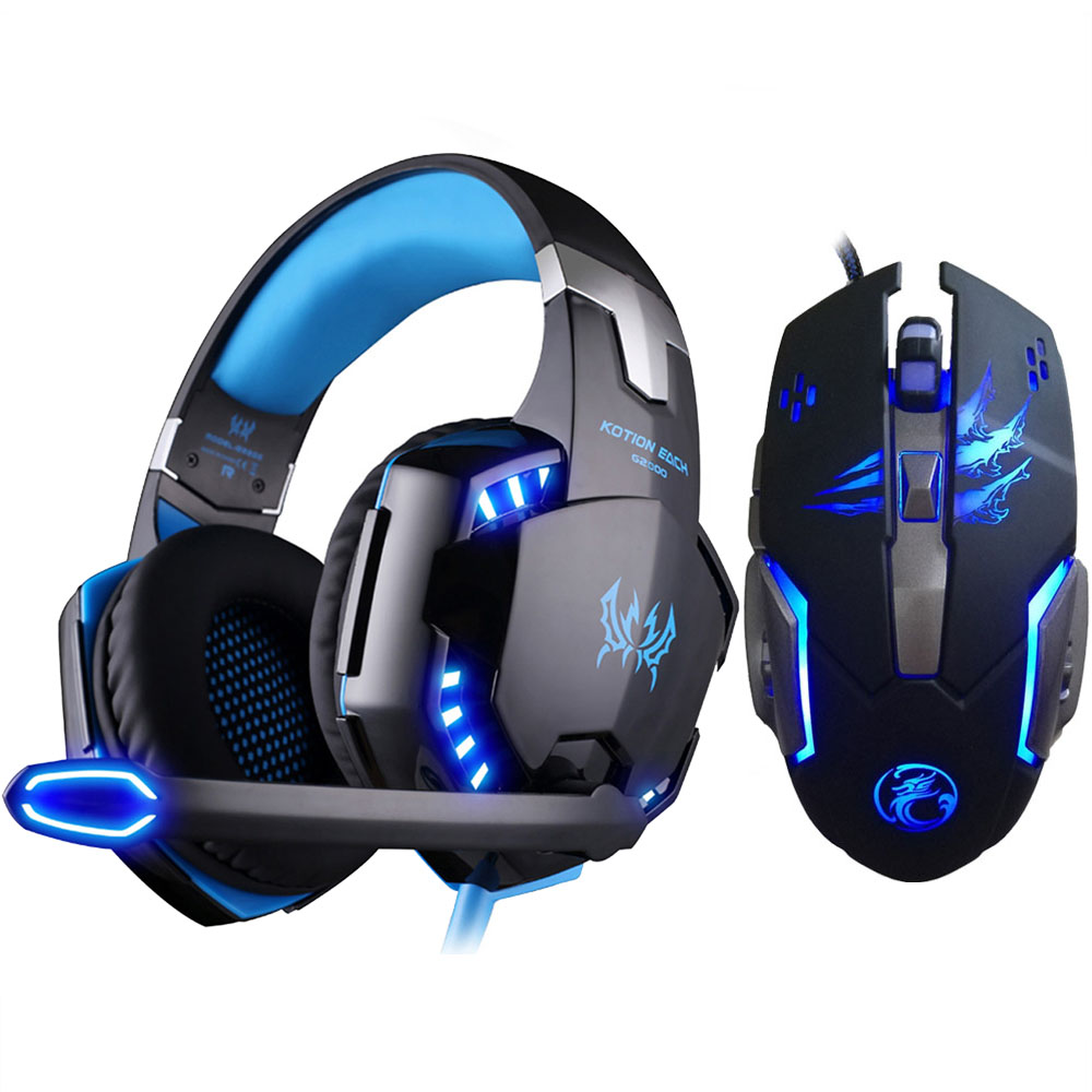 EACH G2000 Stereo Gaming Headset untuk PS4 Deep Bass Computer Game Earphone Fon kepala dengan Mentol LED MIC + 3200PDI Pro Gaming Mouse