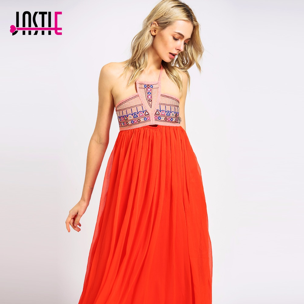 Jastie Mirror Ball Maxi Dress Embroidered Cutout at Bust Backless Halter Neck Sexy Dress Crinkle Chiffon