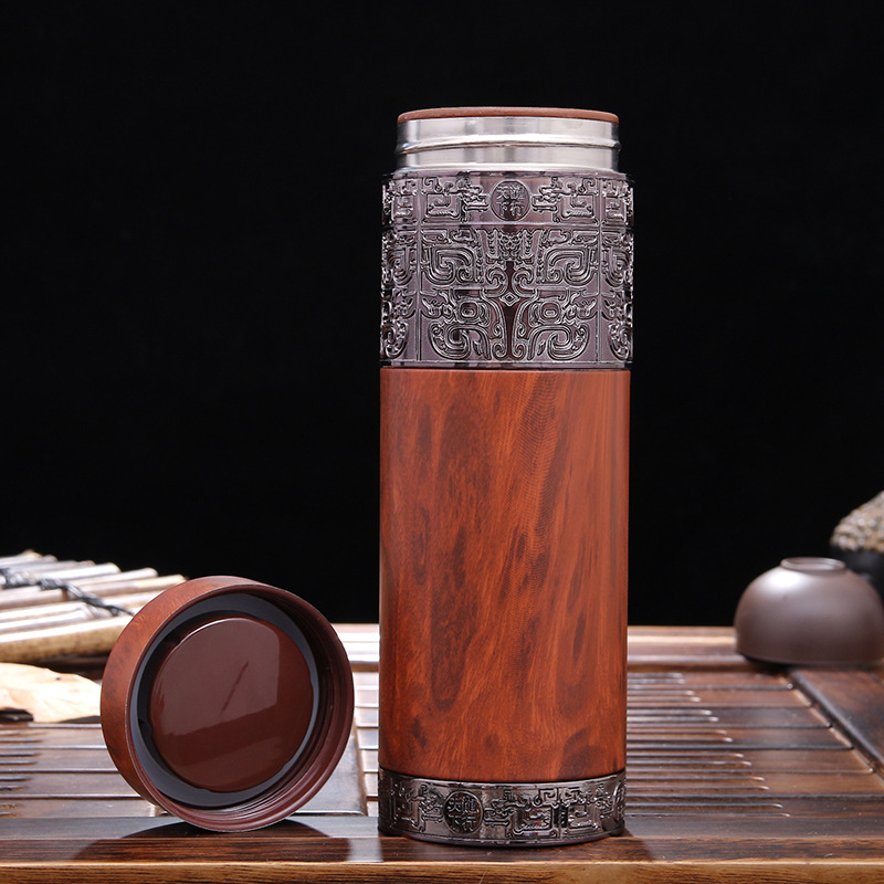 JOUDOO 360ML Vintage Violet Arenaceous Wood Grain Vacuum Flasks Stainless Steel Office Drinking Thermos Bottles Business Gifts35 in Vacuum Flasks Thermoses from Home Garden