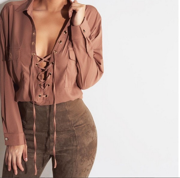 Women Long Sleeve Blouse 2015 Autumn Winter Lace Up Shirt Casual Green Brown Hollow Out Turtleneck Work Club Tops Shirts S-XL
