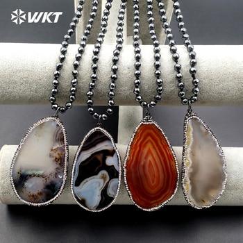 WT-NV176 Wholesale NEW egg pendant black round hematite beaded necklace 30 inches long hematite slice a gate pendant necklace CZ