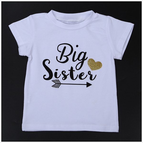 HOT SALE Girls T-shirt Tops Color:white Big Sisters Size:2-3 Years