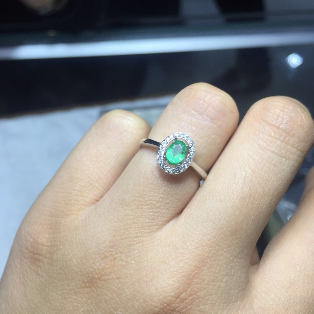 Emerald Ring GemStoneKing Oval Green Nano Emerald 925 Sterling Silver Engagement Ring For Women
