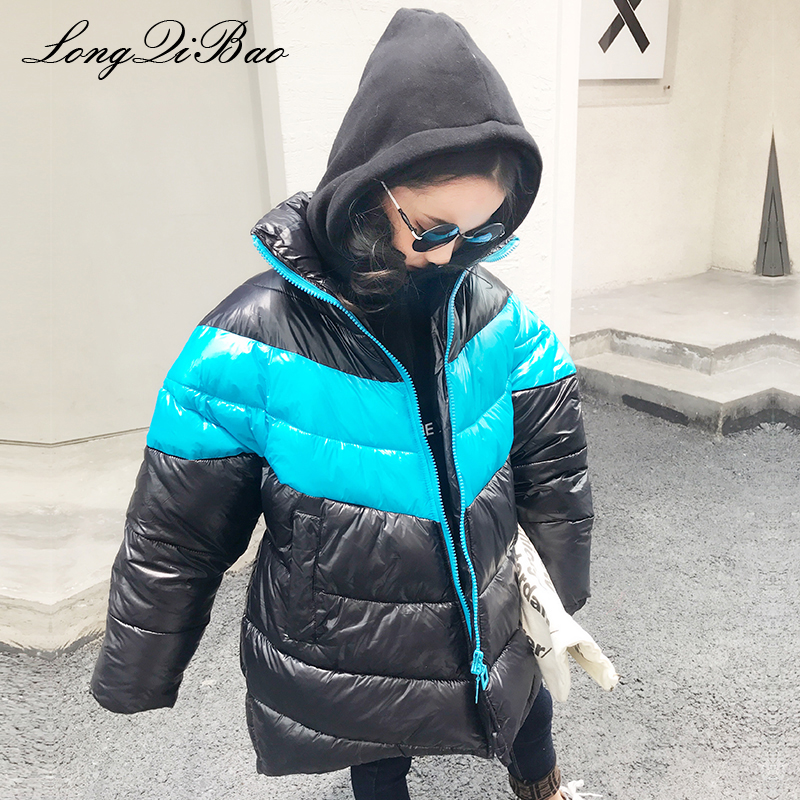 High quality 2018 winter new Korean fashion long section stitching contrast color loose cotton coat big children girls cotton cl [eam] high quality 2018 autumn spliced organza loose lace up long section double layer collar plaid skirt fashion new set la406