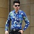 2016 Top Qualidade Mens Camisa Floral de Manga Comprida Negócio Casual Masculino de Algodão Mercerizado Moda Flores Impressão Camisas