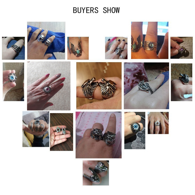 Tiger Vintage Punk Mens Rings Steampunk Hollow Stainless Steel Rings 5