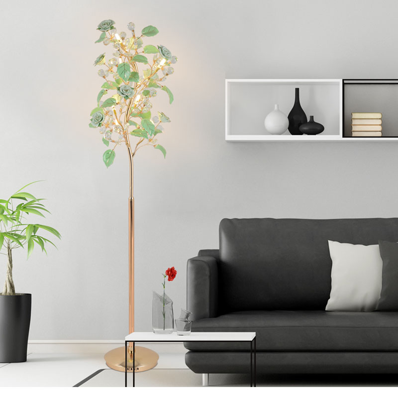 Living room floor lamps simple modern bedroom European style crystal floor lamp wind flower vertical bedside lamp villa lighting living room bedroom bedside table lamp american style simple style lighting modern garden lamps ta9136