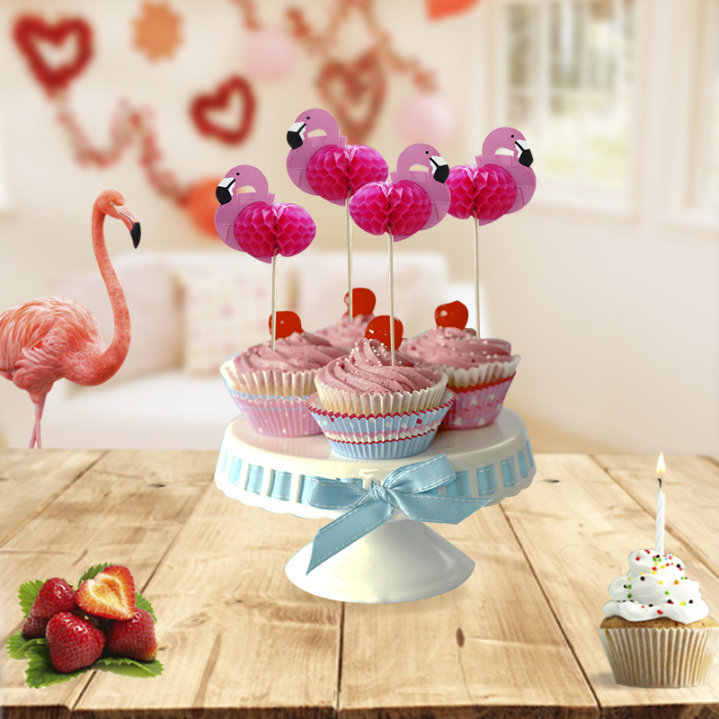 15Pcs/lot Flamingo Cupcake Topper DIY Cake Toppers ...