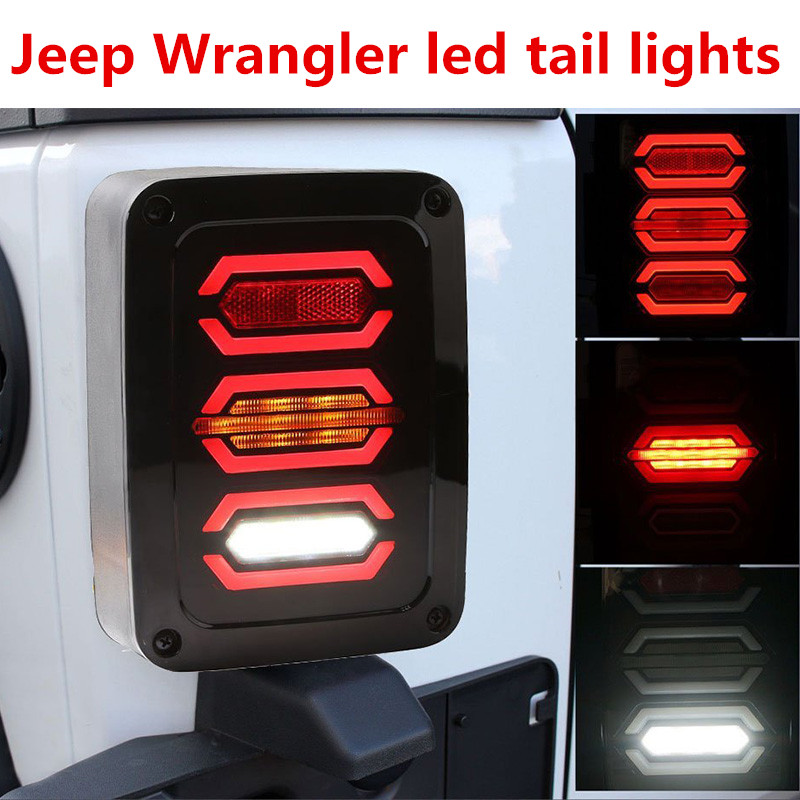 LED Tail Lights for Jeep Wrangler JK Brake Reverse Turn Signal Lamp Rear Parking Stop Back Up Lamp(European version) 1pair led side maker lights for jeeep wrangler amber front fender flares parking turn lamp bulb indicator lens
