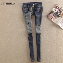 new Low Waist skinny jeans woman street style patchwork ripped jeans for women ladies denim pants female casual pencil pants