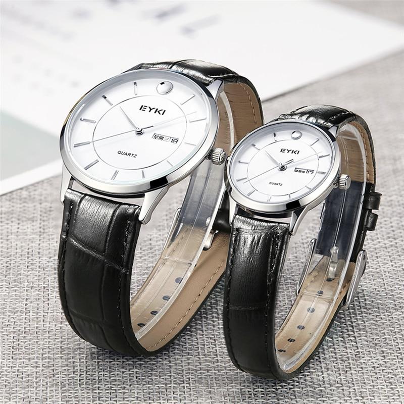 EYKI Meskie Zegarki 2017 Mens Watches Top Brand 6.5MM Ultra-thin Leather Strap Quartz Watch Women Clock Fashion Wristwatches