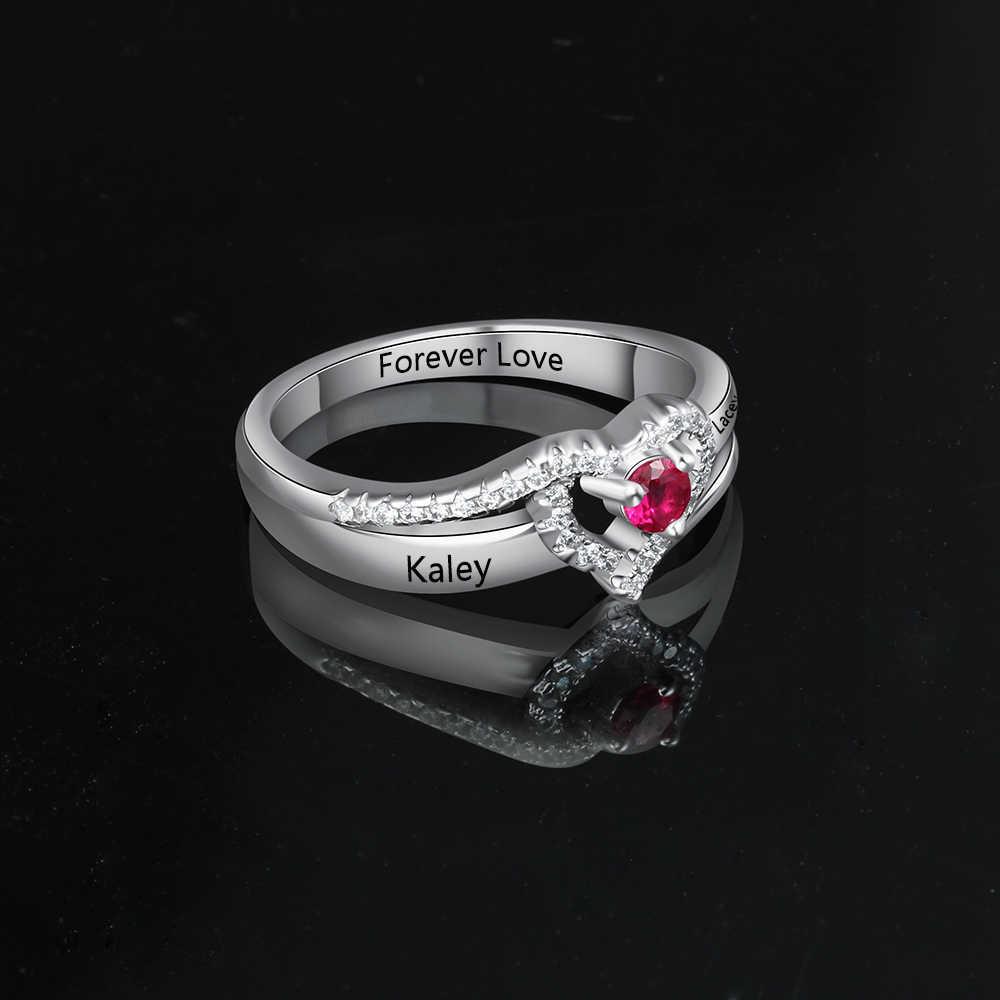 Персонализированные подарки камень по месяцу рождения Выгравированные названия Регулируемые кольца для женщин обещают любовь юбилей ювелирные изделия (JewelOra RI103799)