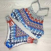 2017 New Women Bikinis High Neck Push Up Bikini Set Geometry Floral Swimwear Female Lace Up