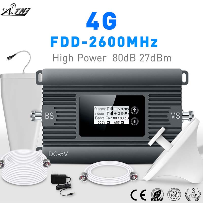 High Power LTE 4G Mobile Signal Booster FDD 2600mhz Cell Phone Signal Repeater Cellular Signal Amplifier With Smart LCD Kit