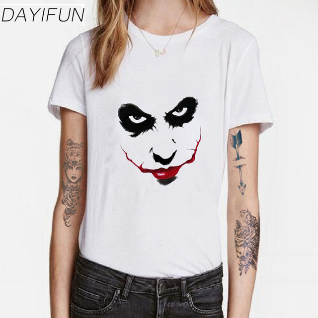 DAYIFUN Summer Tshirt Femme 2018 Blue eyes Eyes Red Lips Tshirt Women Loose Short Sleeve Lady Tee 6005