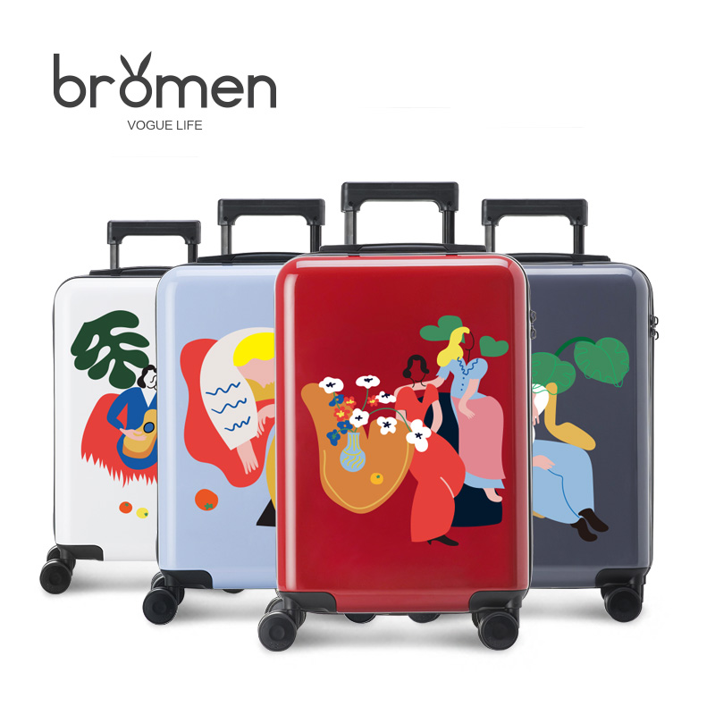 BROME 20/24 inch PC luggage hand-drawn cartoon illustration pull rod box wanxianglun luggage on board box BLM17070