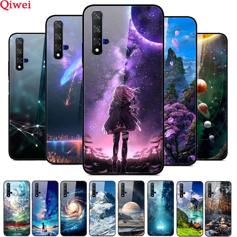 Tempered Glass Case For Huawei Honor 20 Case Painted Cover For Huawei Honor 20 pro Case Coque Honor20 V20 8A 8S 10i Cover Capas image