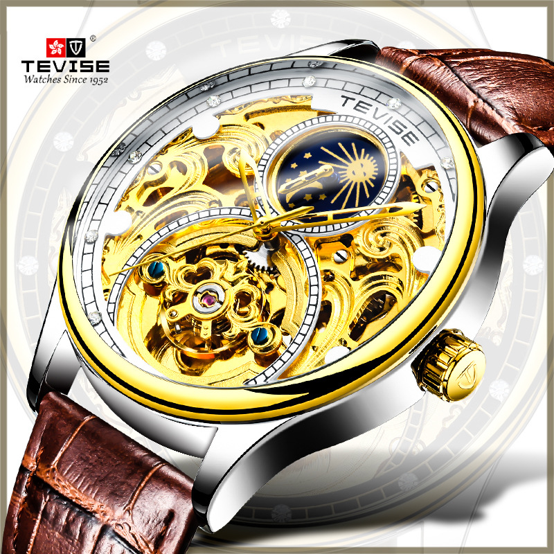 TEVISE Gold Skeleton Tourbillon Watch Men Mechanical Moon Phase Watches Automatic Watch Luxury Gold Leather Wristwatch relogio forsining2018 fashion casual new luxury roman numeral dail with tourbillon men s watch wristwatch moon phase display skeleton wa