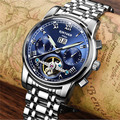 KINYUED Men Automatic Mechanical Watch Steel Bracelet Skeleton Flying Design 2017 Top Luxury Swiss Brand Watches