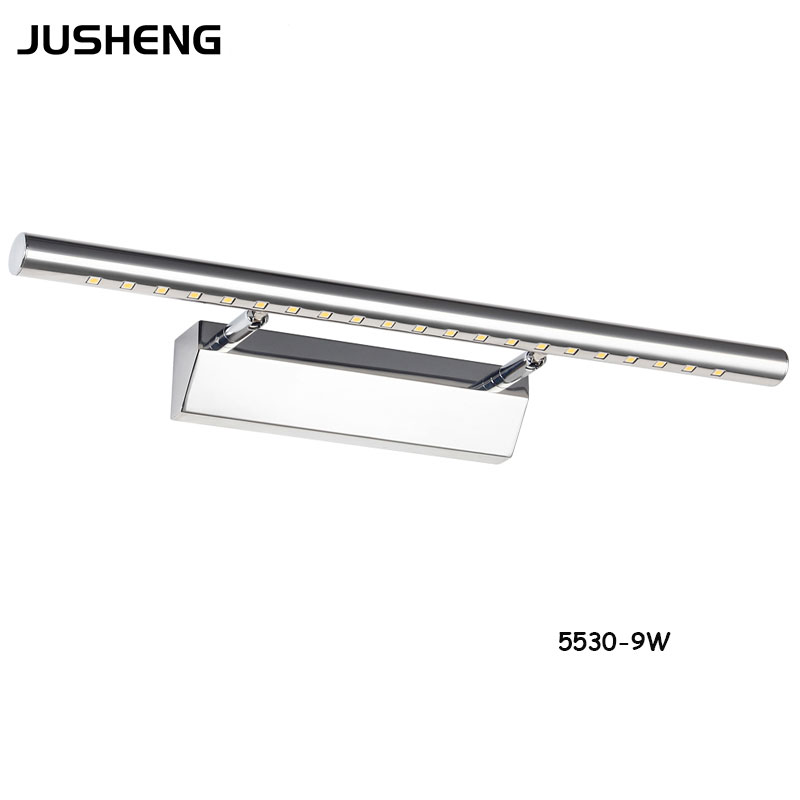 JUSHENG LED Wall Lights in Bathroom 9W Top Mirror Light SMD5050 70cm Long in Hotel as Washroom Stainess Indoor Lights 100-240VAC dhl free shipping 9w with switch led mirror light for hotel bathroom washroom wall spot light 85 240v waterproof led wall light