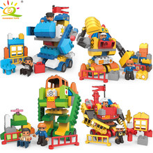 4Style DIY Big Size City Transformed Robot Building Blocks Compatible legoing Duploe Police firefight engineer Toys For Children(China)