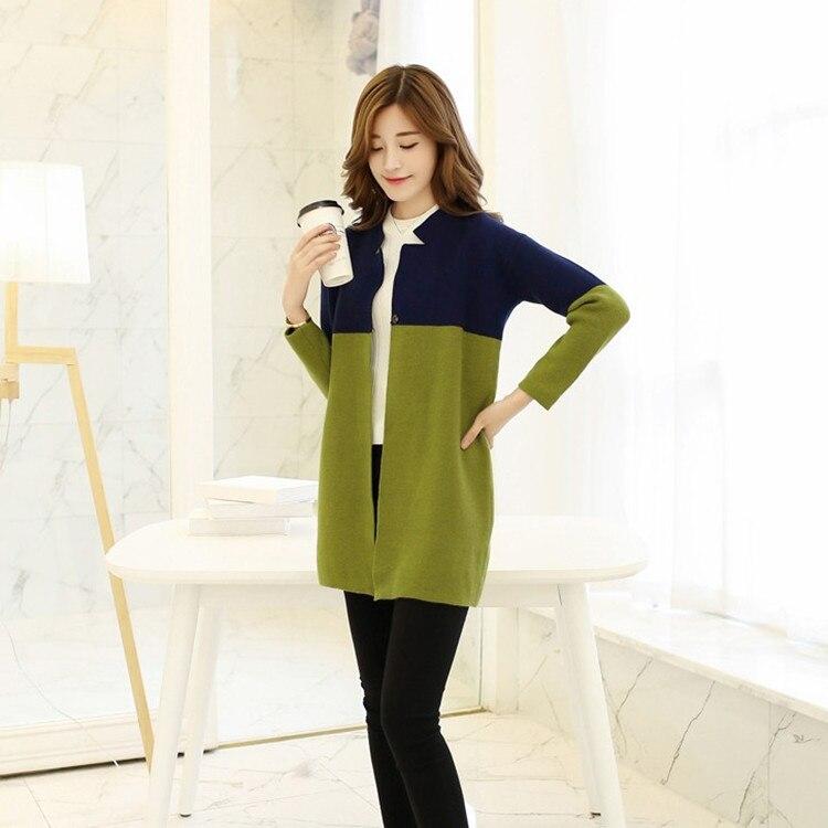 2015 Korean Women Autumn Slim Contrast color sweater coat Women's ...