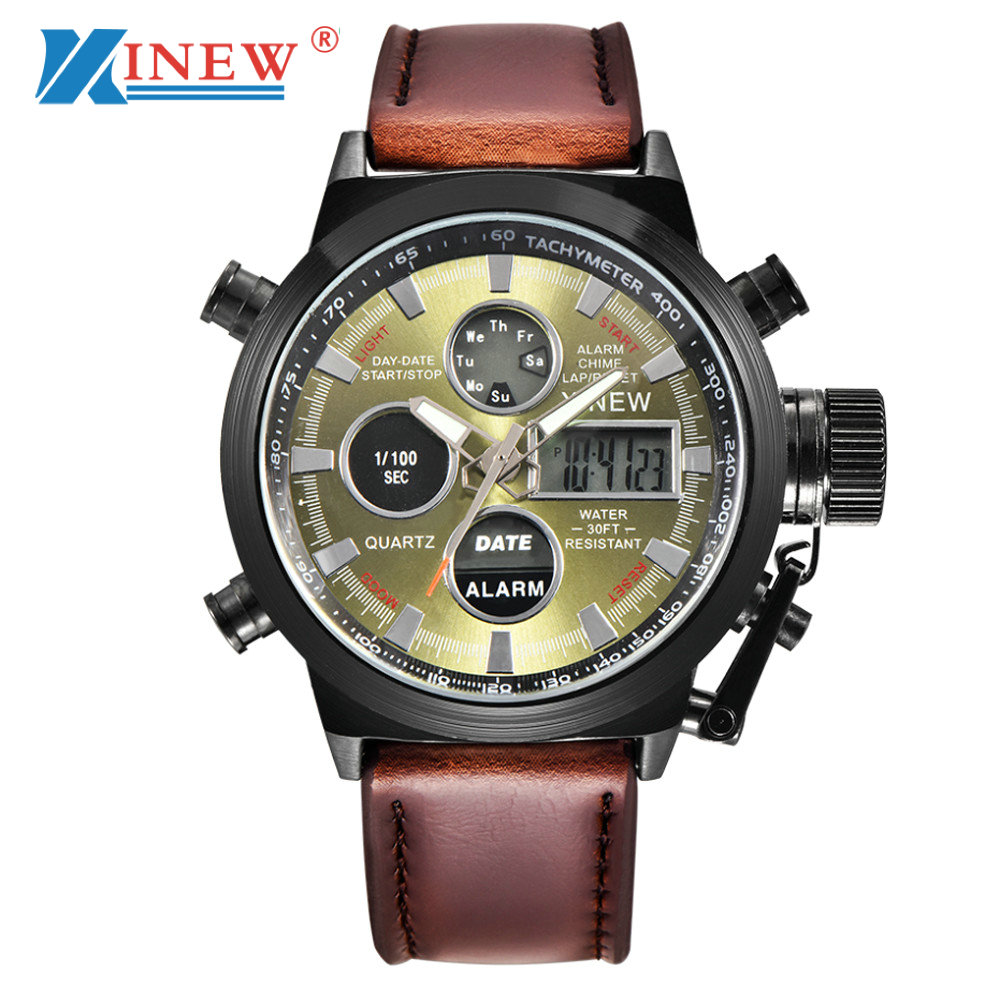XINEW Watch Men Luxury Brand Quartz Military Sport LED Watch Leather Men's Business Wristwatch Date Clock relogio masculino NEW 2017 xinew brand luxury men s watch aviator white automatic mechanical date day leather band quartz wrist watch military clock