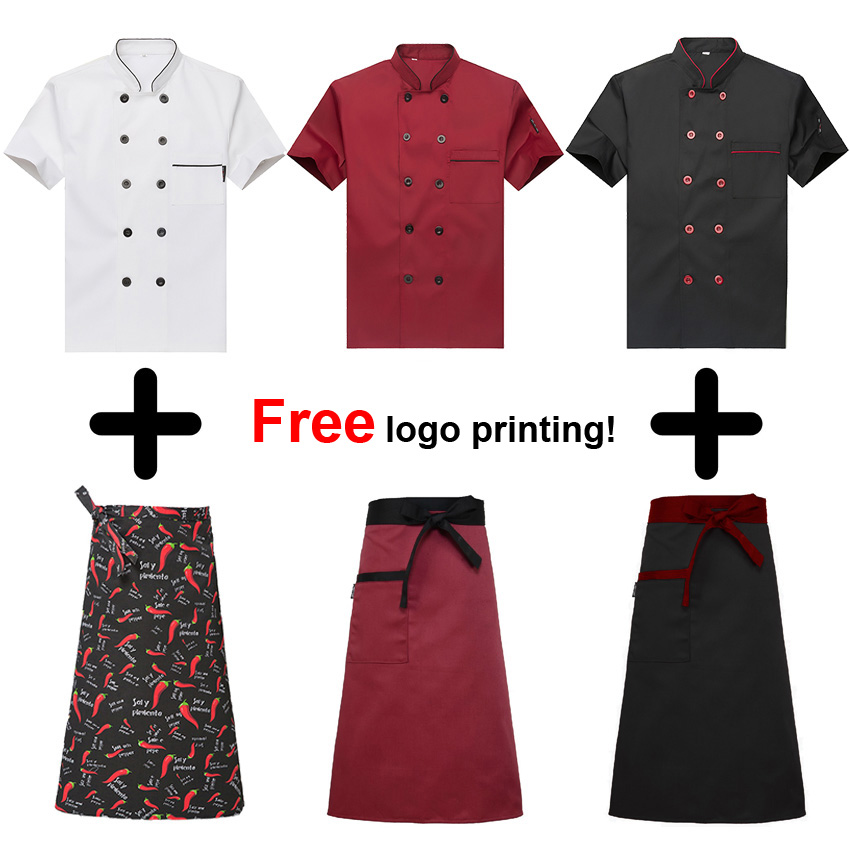 Short Sleeve Chef Uniform Man Shirt Tops Breathable Food Service Free Logo Printing Bakery Cook Jacket Apron Cap Accessories