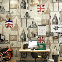 10m*53cm American Vintage stamp wallpaper British European ancient architecture restaurant hotel personality wall deco